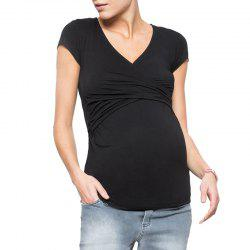 Maternity V Neck Solid Color Short Sleeve Suckle Cross Wild Tops Base T-shirt -