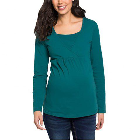 040d479442dad Maternity Casual Round Neck Plus Size Long Sleeve Solid Color Suckle T-shirt  Top
