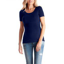 Maternity Round Neck Wild Casual Solid Color Short Sleeve Suckle T-shirt -