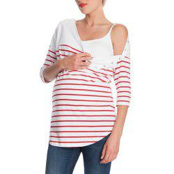 Maternity Round Neck Striped Mid-Sleeve Casual Suckle Top Wild T-shirt -