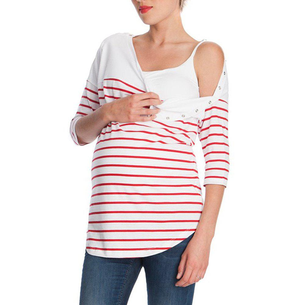 Unique Maternity Round Neck Striped Mid-Sleeve Casual Suckle Top Wild T-shirt