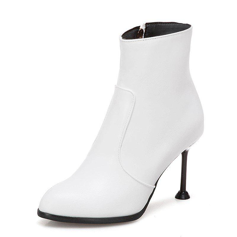 Sale Stylish Stiletto with Round Head Zipper Wedding Ankle Boots