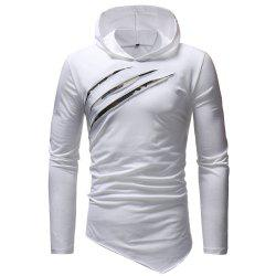 Fashion Casual Chest Scratches Men's Slim Hooded Long-sleeved T-shirt -