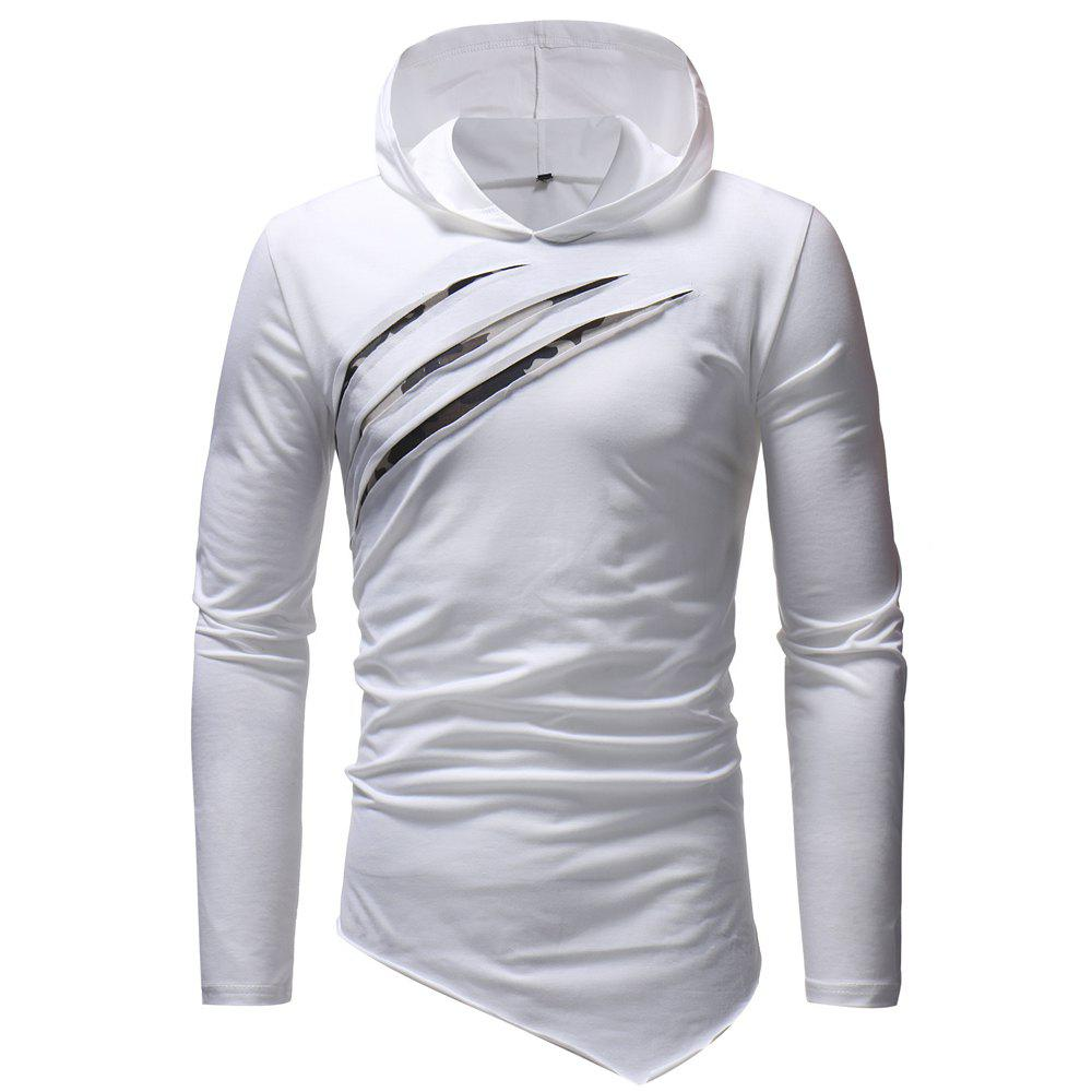 Outfits Fashion Casual Chest Scratches Men's Slim Hooded Long-sleeved T-shirt