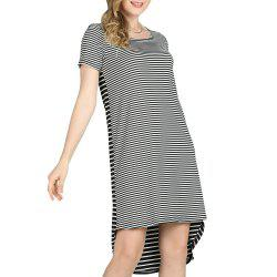 SBETRO Casual Striped Mini Dress Short Sleeve O Neck Asymmetrical -