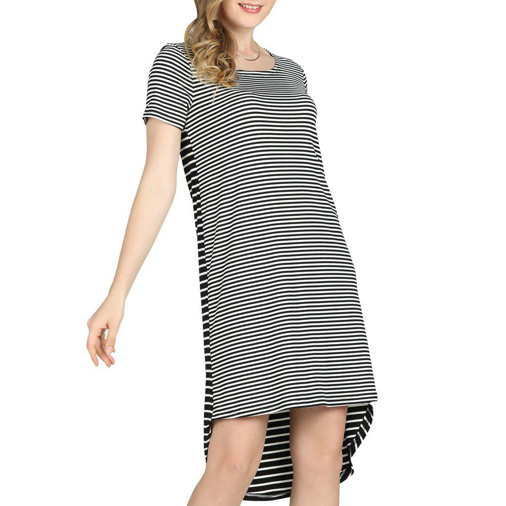 Chic SBETRO Casual Striped Mini Dress Short Sleeve O Neck Asymmetrical