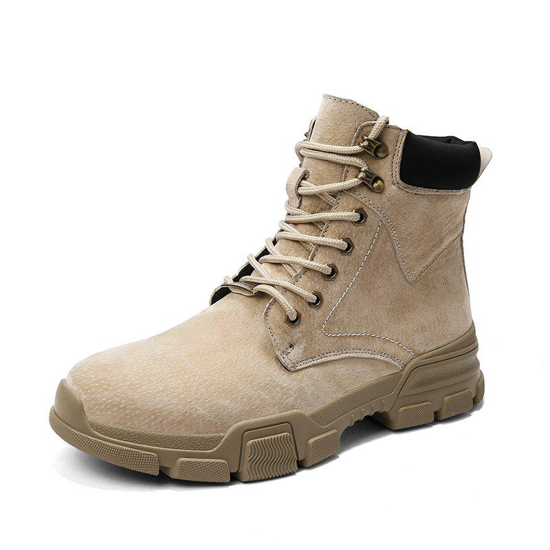 b1c06d448bd Men Leather High-Top Non-Slip Wear-Resistant Tooling Outdoor Casual Shoes
