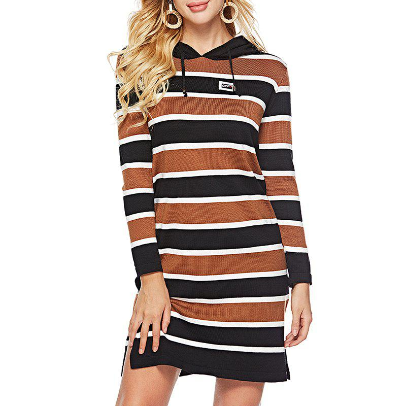 Affordable Autumn Striped Hooded Sweater Women'S Knitted Dress