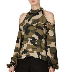 Chemise à manches longues camouflage automne sexy -