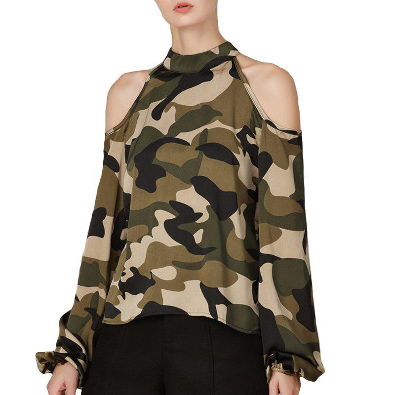 Chemise à manches longues camouflage automne sexy
