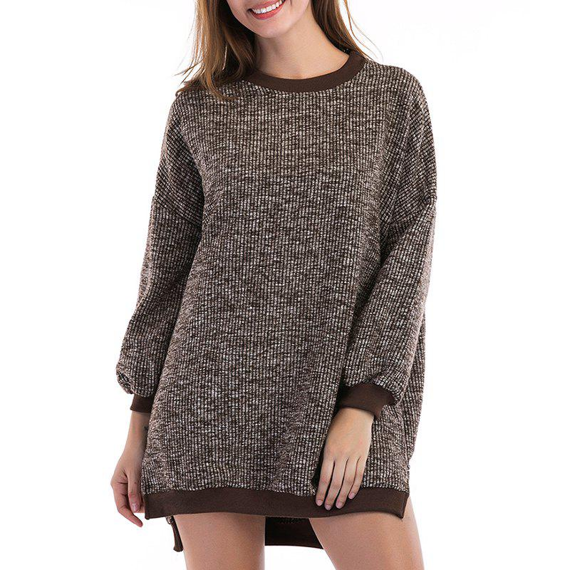 Col rond automne manches longues fendue pull longueur moyenne pull