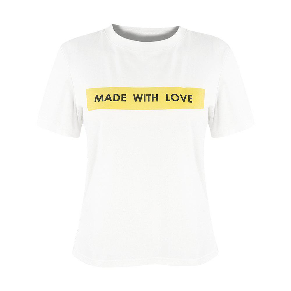 HAODUOYI T-shirt Simplified Made with Love pour femme, blanc