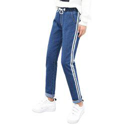 Women'S Elastic Waist Stitching Casual Washed Jeans -