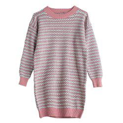 Women's Long Sleeve Round Necked Loose Sweater Dress -