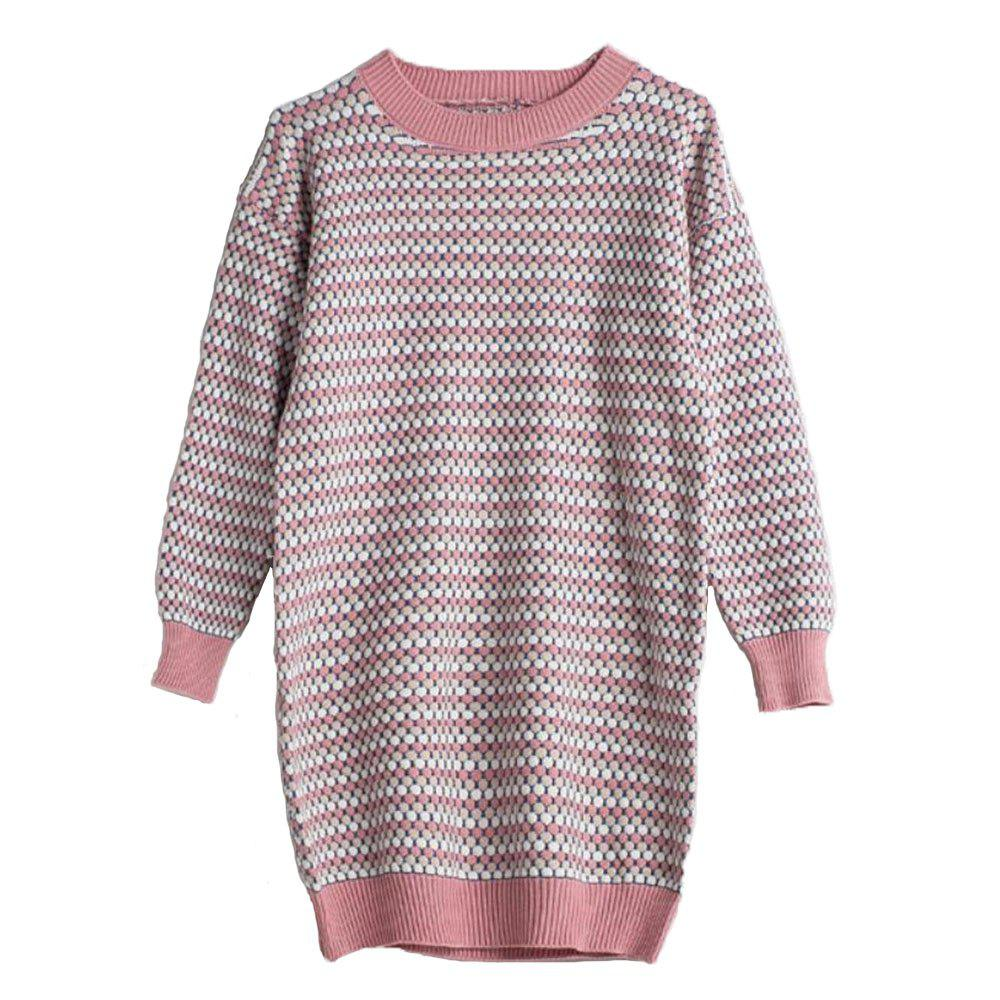 New Women's Long Sleeve Round Necked Loose Sweater Dress