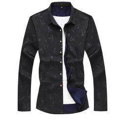 Men's Printed Plus Velour Thick Warm Long-sleeved Shirt -