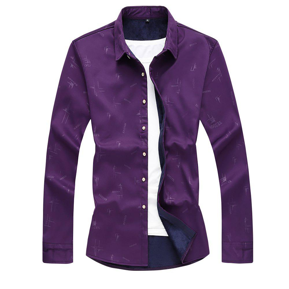 Chic Men's Printed Plus Velour Thick Warm Long-sleeved Shirt