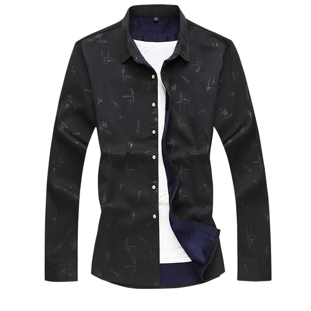 Buy Men's Printed Plus Velour Thick Warm Long-sleeved Shirt