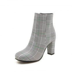 Square Head with High Heels and Fashionable Short Boots -