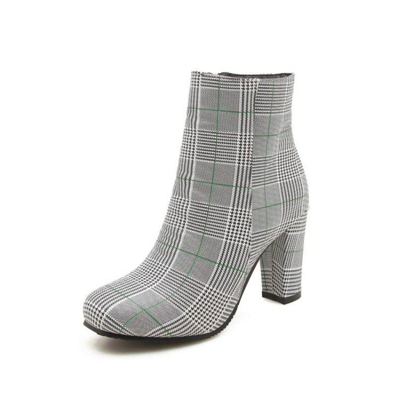 Buy Square Head with High Heels and Fashionable Short Boots