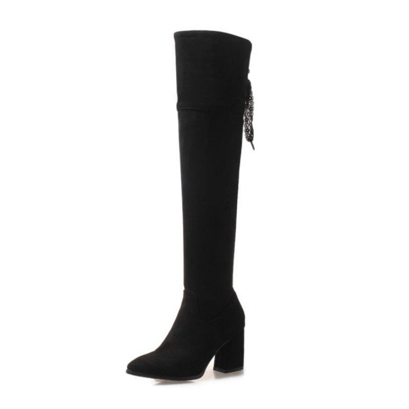 Trendy Pointy Thick with High Heel Sexy Ladies Over The Knee Boots