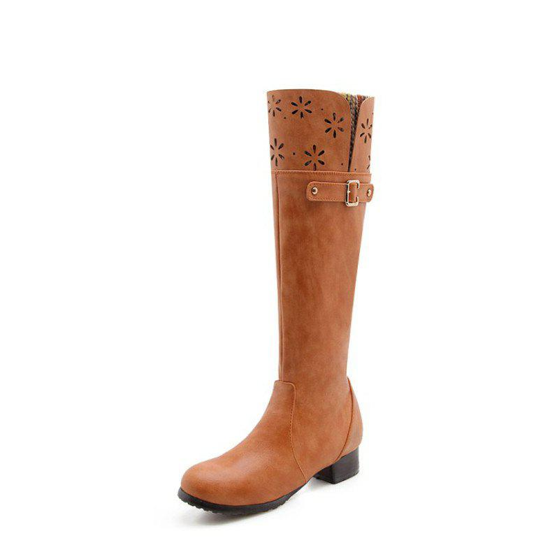 Hot Round Head Rough and Low Fashion High Boots