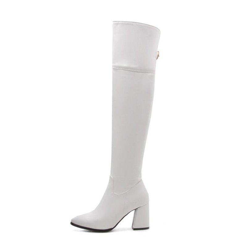 Buy Sharp Head and High Heel Fashion Simple Knee Boots