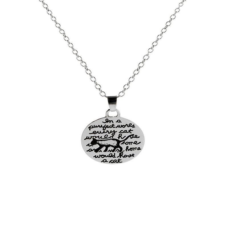 Online Men's Personality Fashion Letter and Kitten Pendant Alloy Necklace