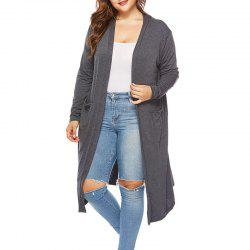 Solid Color Knitted Long Cardigan -