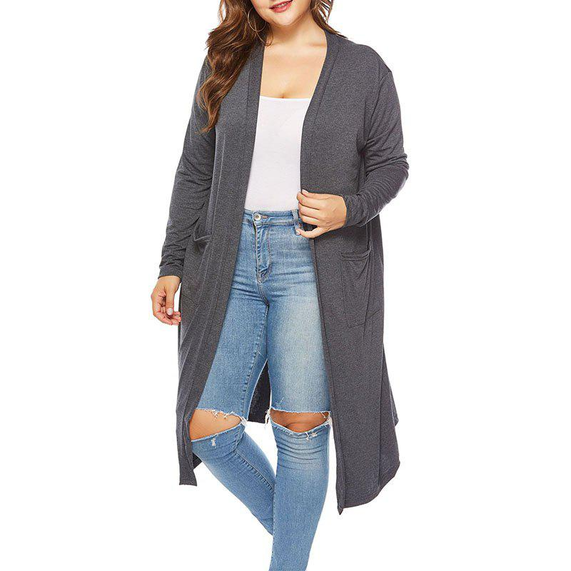 Discount Solid Color Knitted Long Cardigan