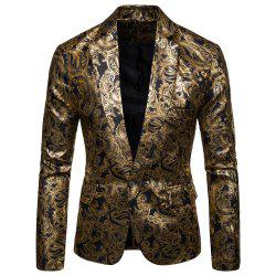Men's  Casual Ethnic Style Bronzing Floral Slim Suit -
