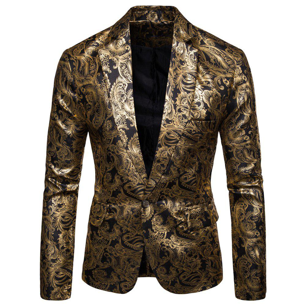 Online Men's  Casual Ethnic Style Bronzing Floral Slim Suit