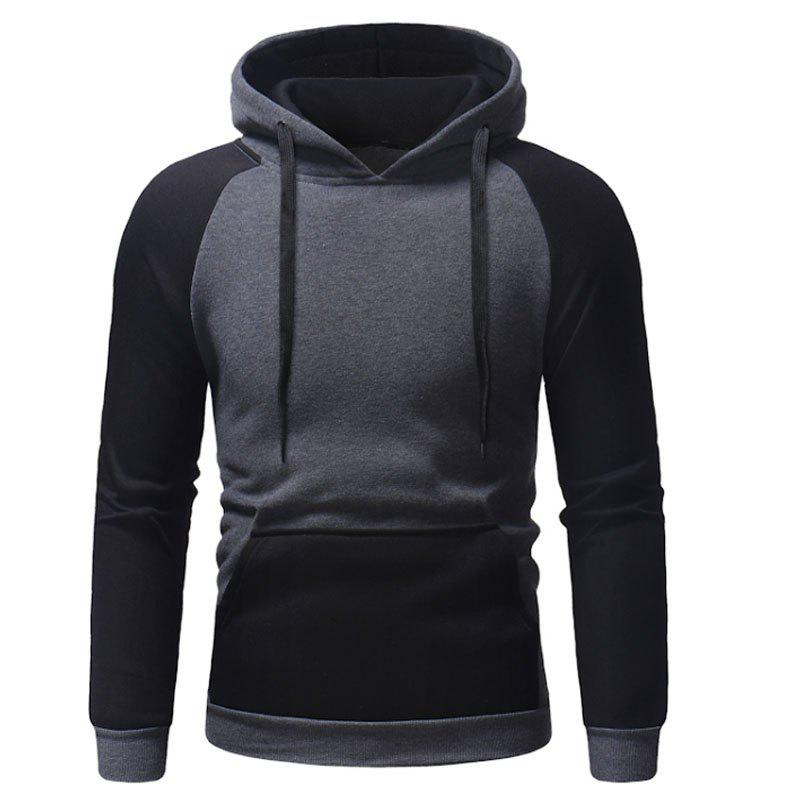 Buy Men's Autumn And Winter Hooded Blue Patchwork Leisure Clothes