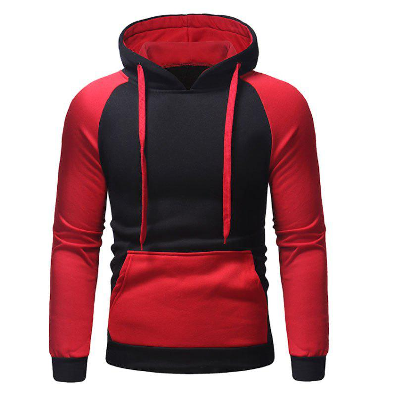 Store Men's Autumn And Winter Hooded Blue Patchwork Leisure Clothes