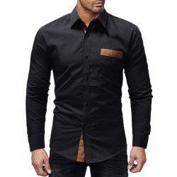 Men's Sticker Pocket Casual Slim Long Sleeve Shirt -