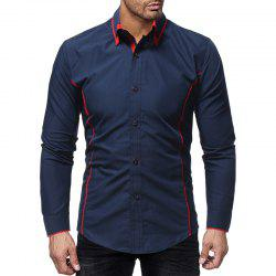 Fashion Contrast Double Layer Men's Casual Slim Long Sleeve Shirt -