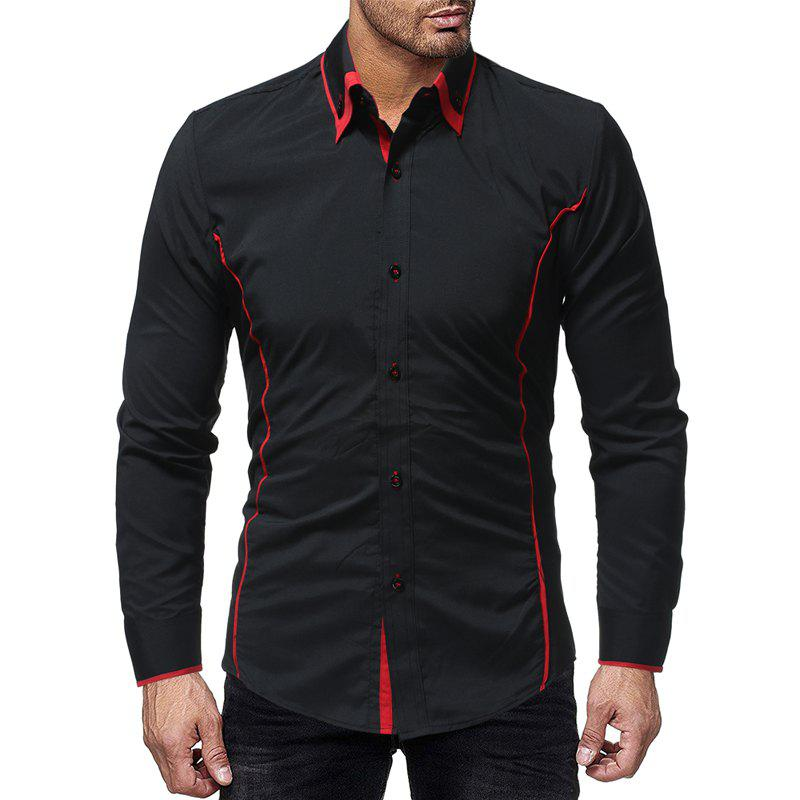 Store Fashion Contrast Double Layer Men's Casual Slim Long Sleeve Shirt