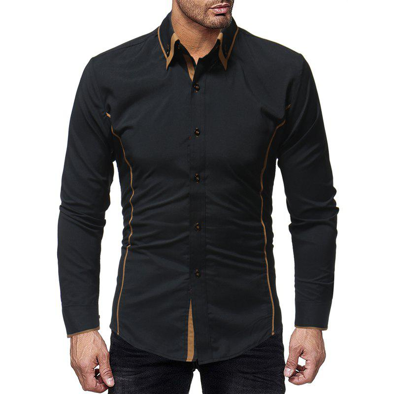 Online Fashion Contrast Double Layer Men's Casual Slim Long Sleeve Shirt