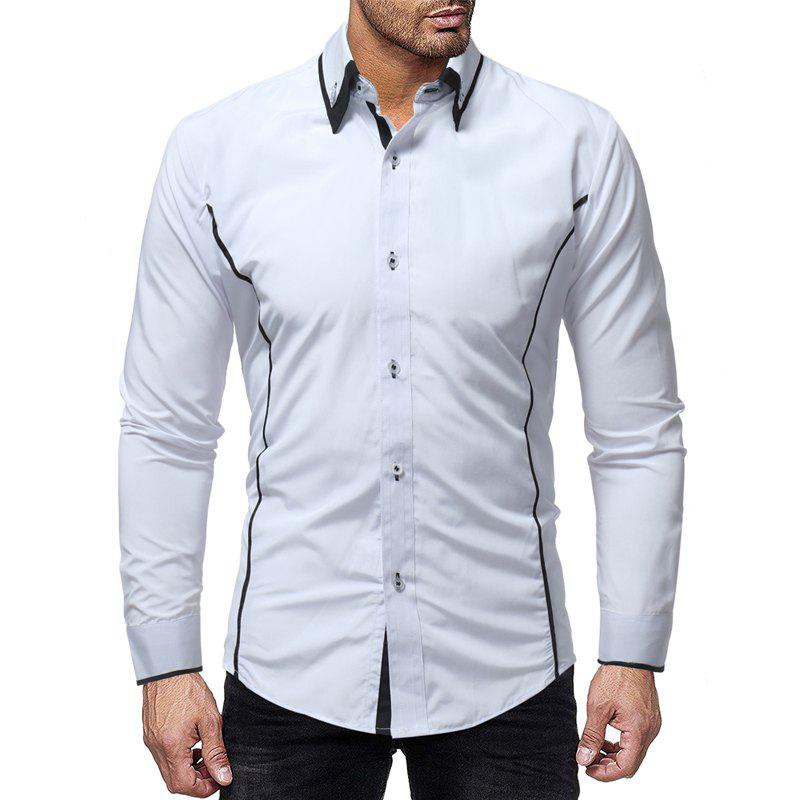Shop Fashion Contrast Double Layer Men's Casual Slim Long Sleeve Shirt