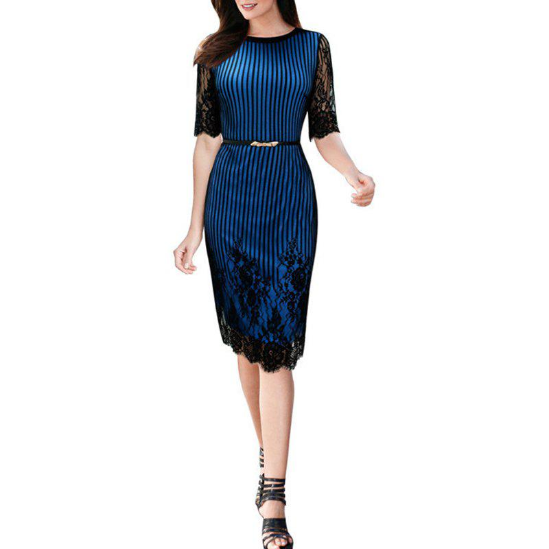 Buy Women's O-neck Half Sleeve Lace Patchwork Slim Waist Belt Pencil Dress