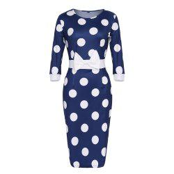 Women's Round Neck Bow Polka Dot Color Block Bodycon Slim Pencil Dress -
