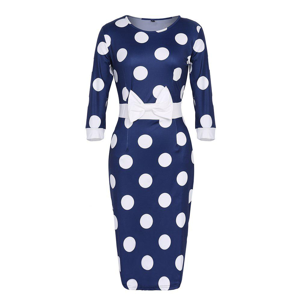 Fashion Women's Round Neck Bow Polka Dot Color Block Bodycon Slim Pencil Dress