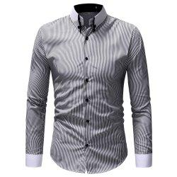 Classic Striped Contrast Collar Men's Casual Slim Long Sleeve Shirt -
