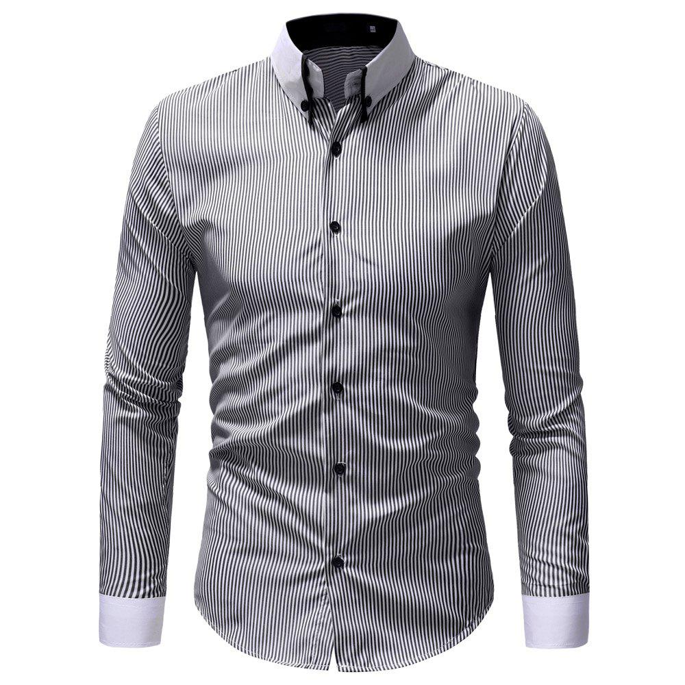 Sale Classic Striped Contrast Collar Men's Casual Slim Long Sleeve Shirt