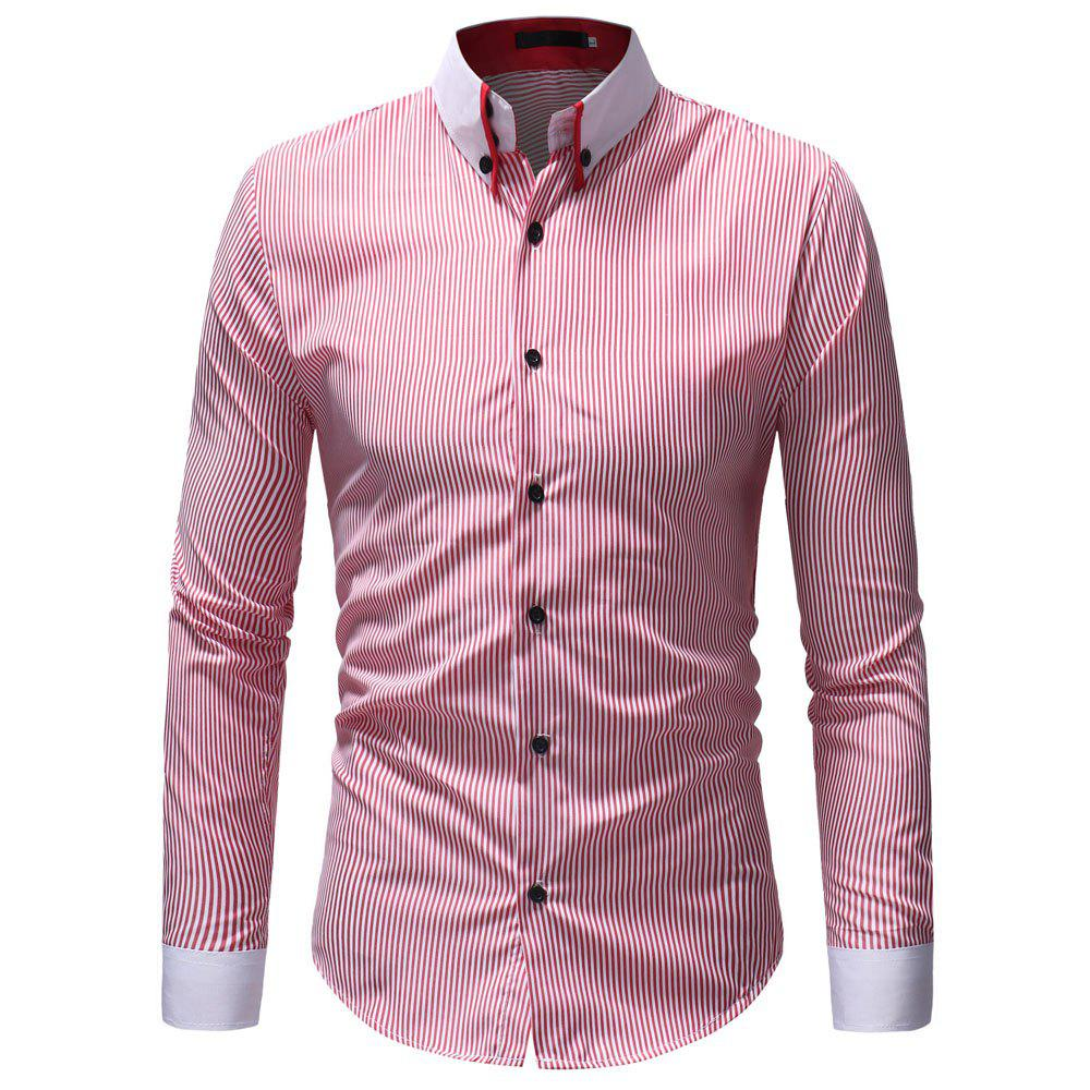 Buy Classic Striped Contrast Collar Men's Casual Slim Long Sleeve Shirt