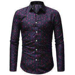 Men's Casual Slim Long Sleeve Printed Shirt -