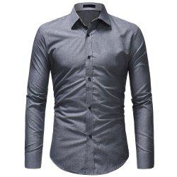 Fashion Wild Solid Color Men's Casual Slim Long-sleeved Shirt -