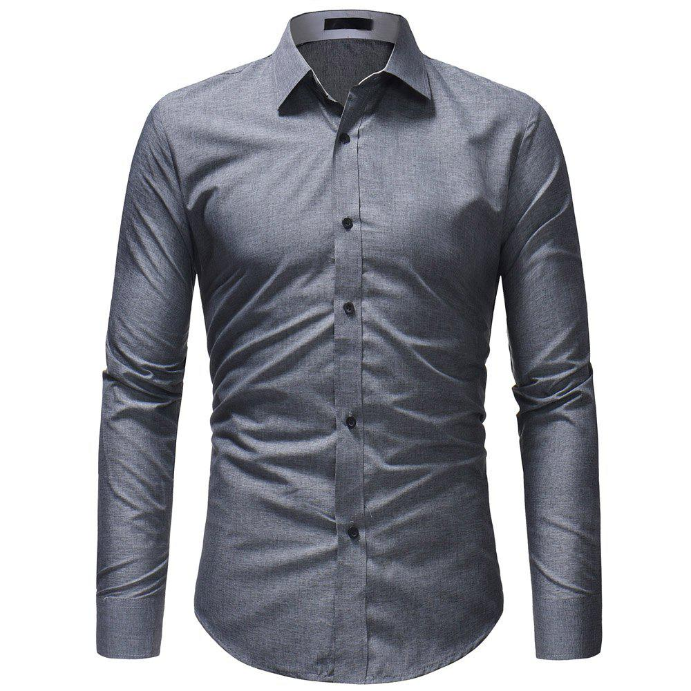 Buy Fashion Wild Solid Color Men's Casual Slim Long-sleeved Shirt
