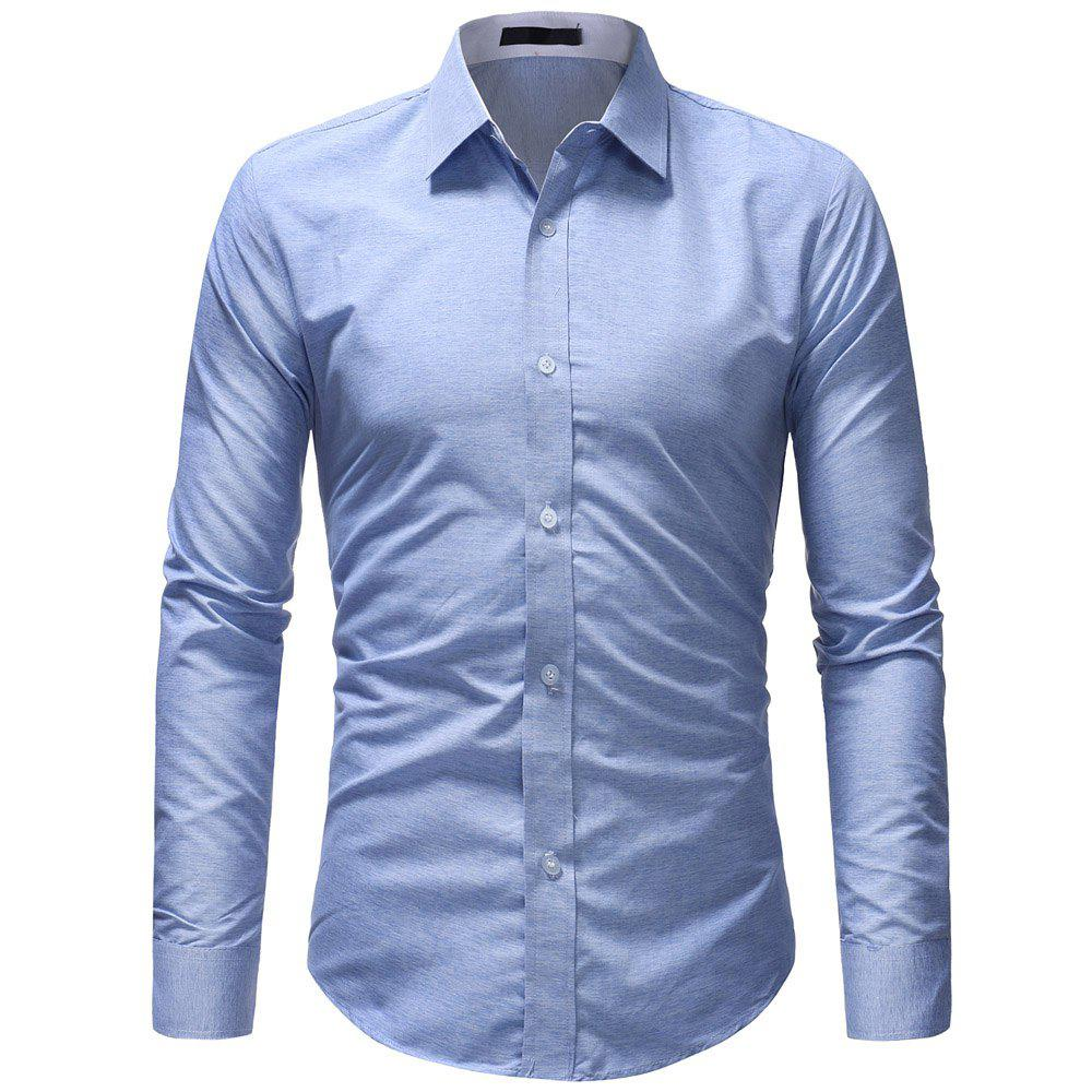 Latest Fashion Wild Solid Color Men's Casual Slim Long-sleeved Shirt