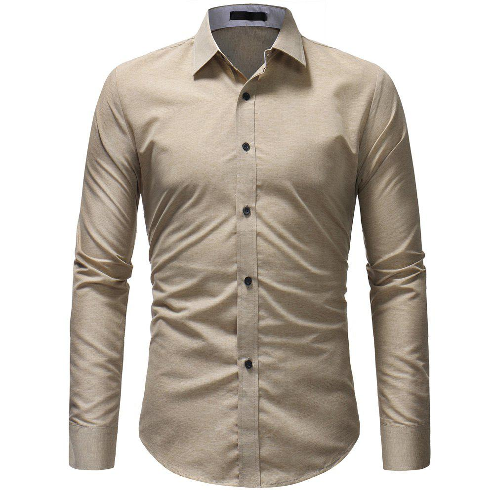 Discount Fashion Wild Solid Color Men's Casual Slim Long-sleeved Shirt